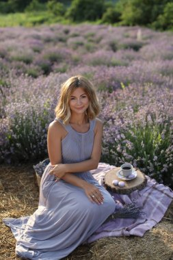 attractive woman sitting on blanket at picnic in violet lavender field