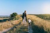 šťastná mladá matka s roztomilý malý syn, drželi se za ruce a společně chodit na venkovské cestě