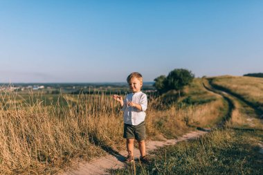 Full length view of cute little boy standing on rural path and looking at camera stock vector