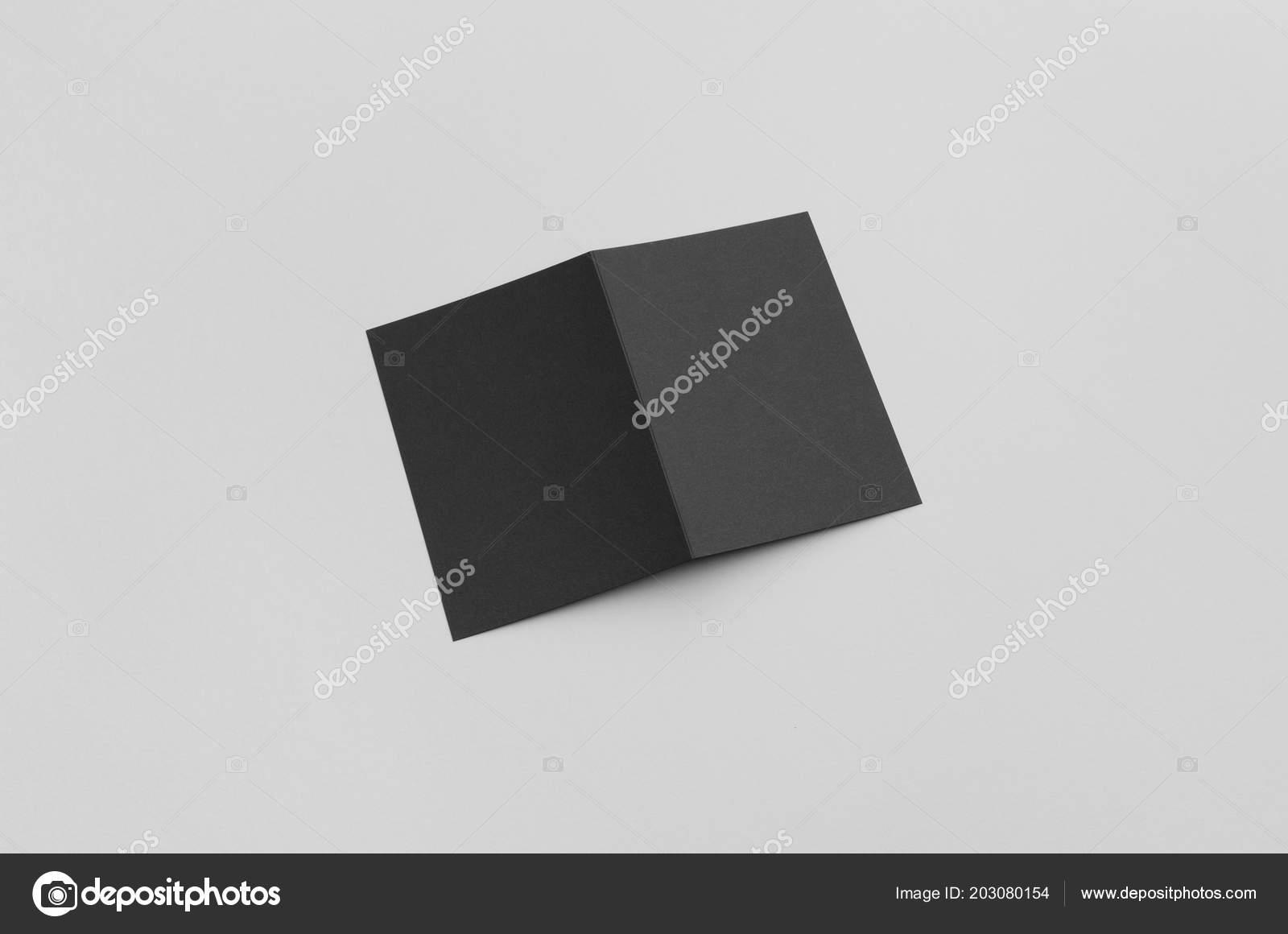 Black Fold Half Fold Brochure Mock — Stock Photo