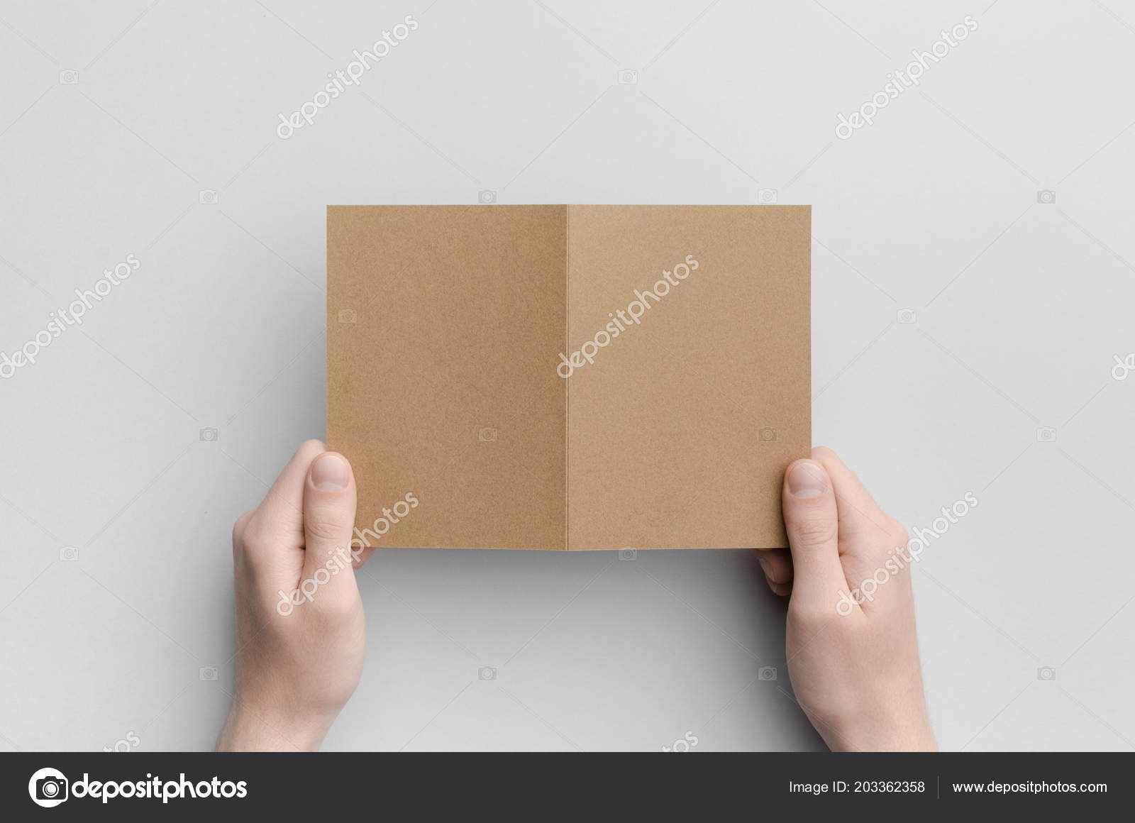 kraft fold half fold brochure mock male hands holding kraft stock