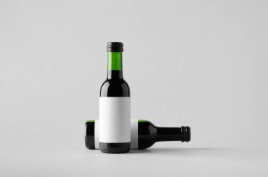 Wine Quarter / Mini Bottle Mock-Up - Two Bottles. Blank Label
