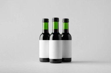 Wine Quarter / Mini Bottle Mock-Up - Three Bottles. Blank Label
