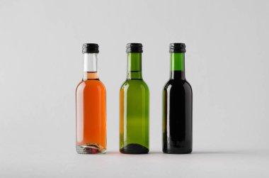 Wine Quarter / Mini Bottle Mock-Up - Three Bottles