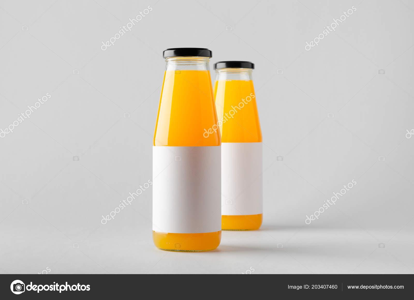 juice bottle mock two bottles blank label stock photo