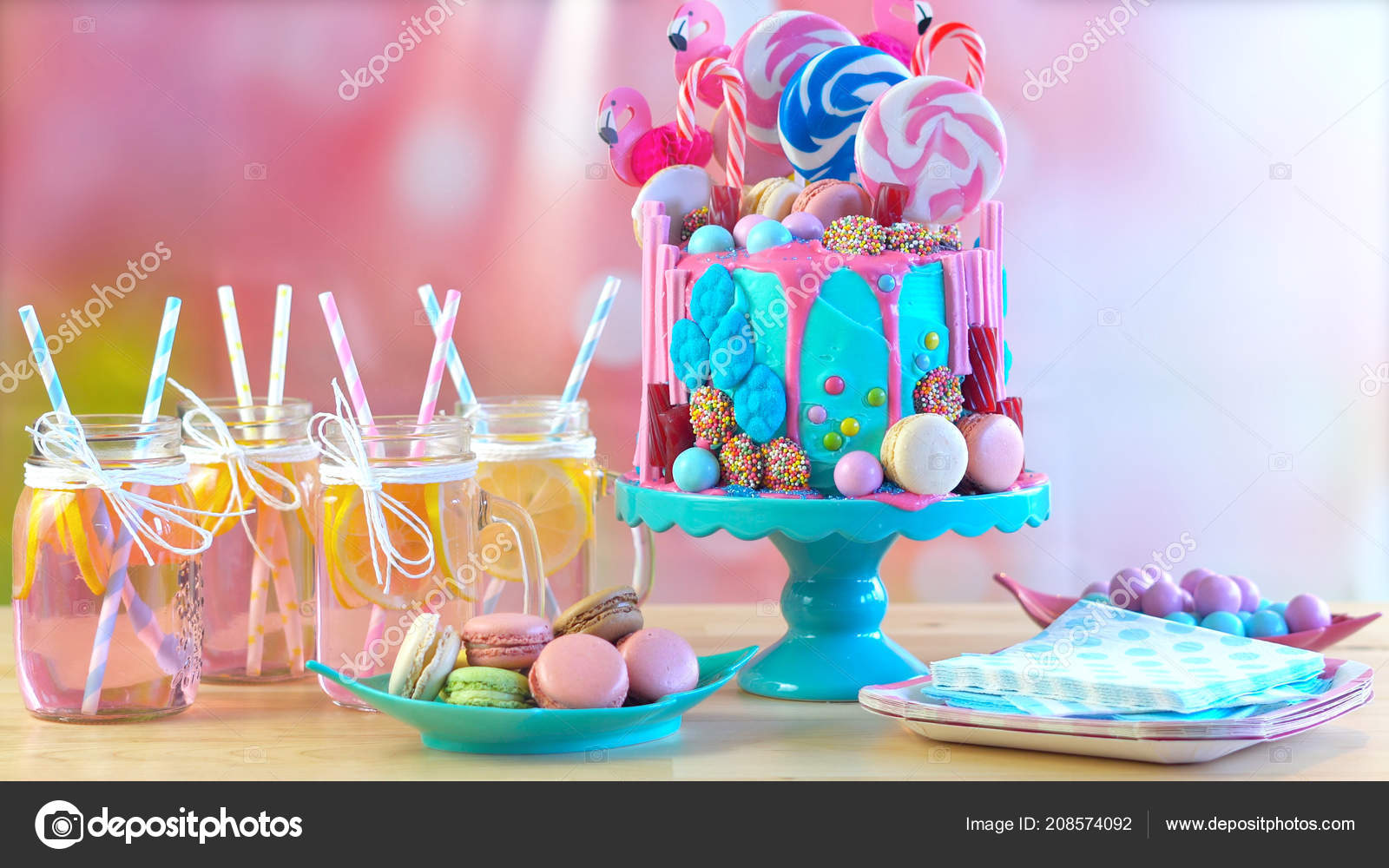 On Trend Candyland Fantasy Drip Cake For Childrens Teens Birthday Anniverary Mothers Day And Valentines Celebrations In Party Table Setting With