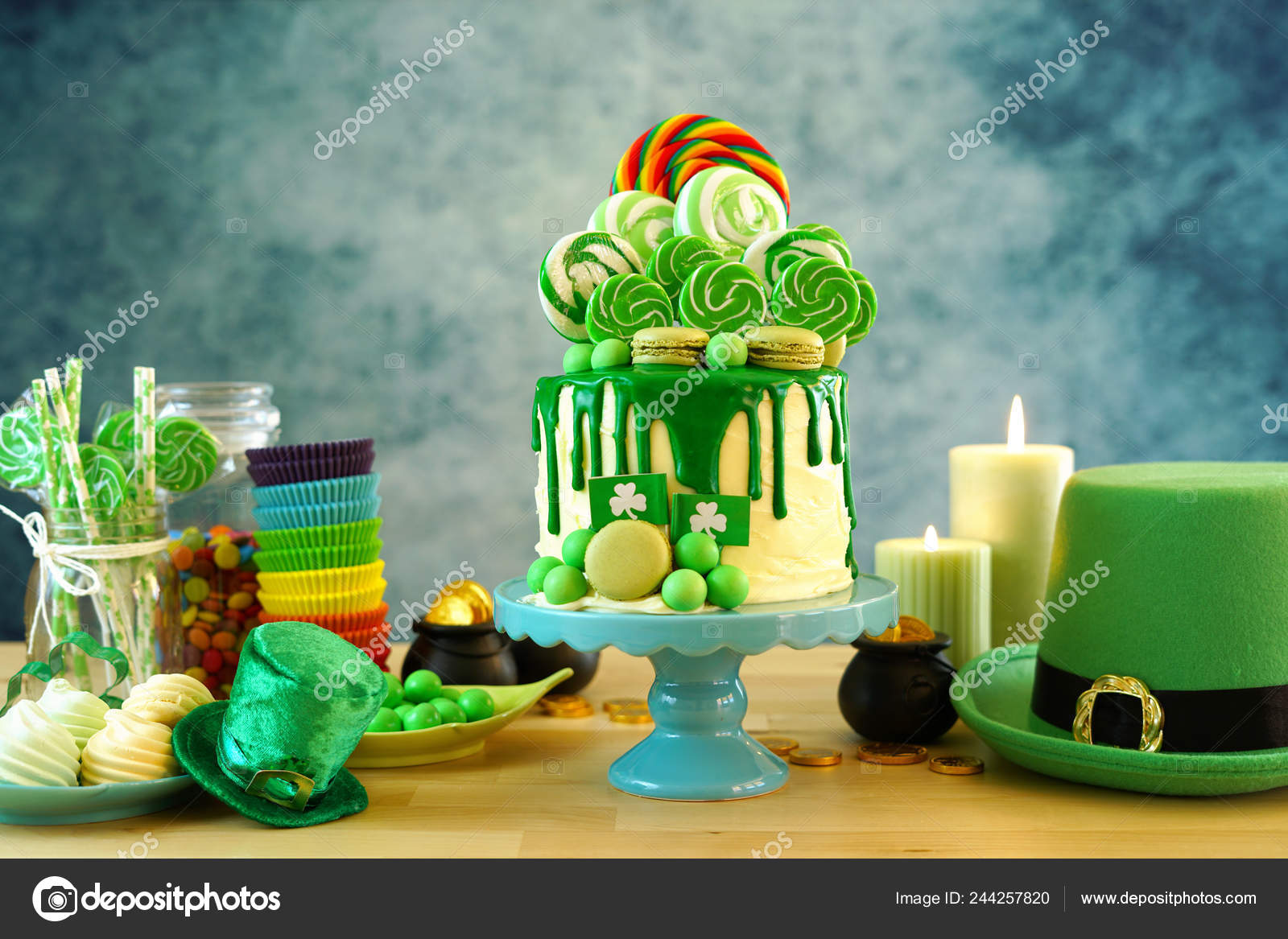 Sensational St Patricks Day Candyland Drip Cake And Party Table Stock Photo Funny Birthday Cards Online Necthendildamsfinfo