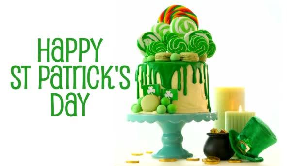 St Patricks Day téma lízátko candy land odkapávací dort, animovaný text pozdravu.