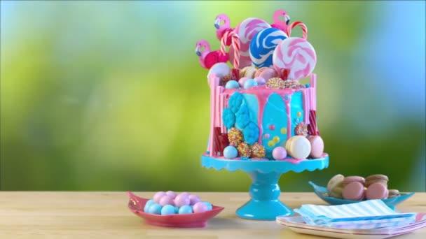 Candy land plameňáci dort kapání, zahradní slavnost, nastavení, lensflare.