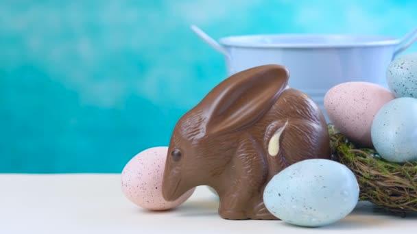 Australský mléčná čokoláda místnosti velikonoční vajíčko s vejce v hnízdě
