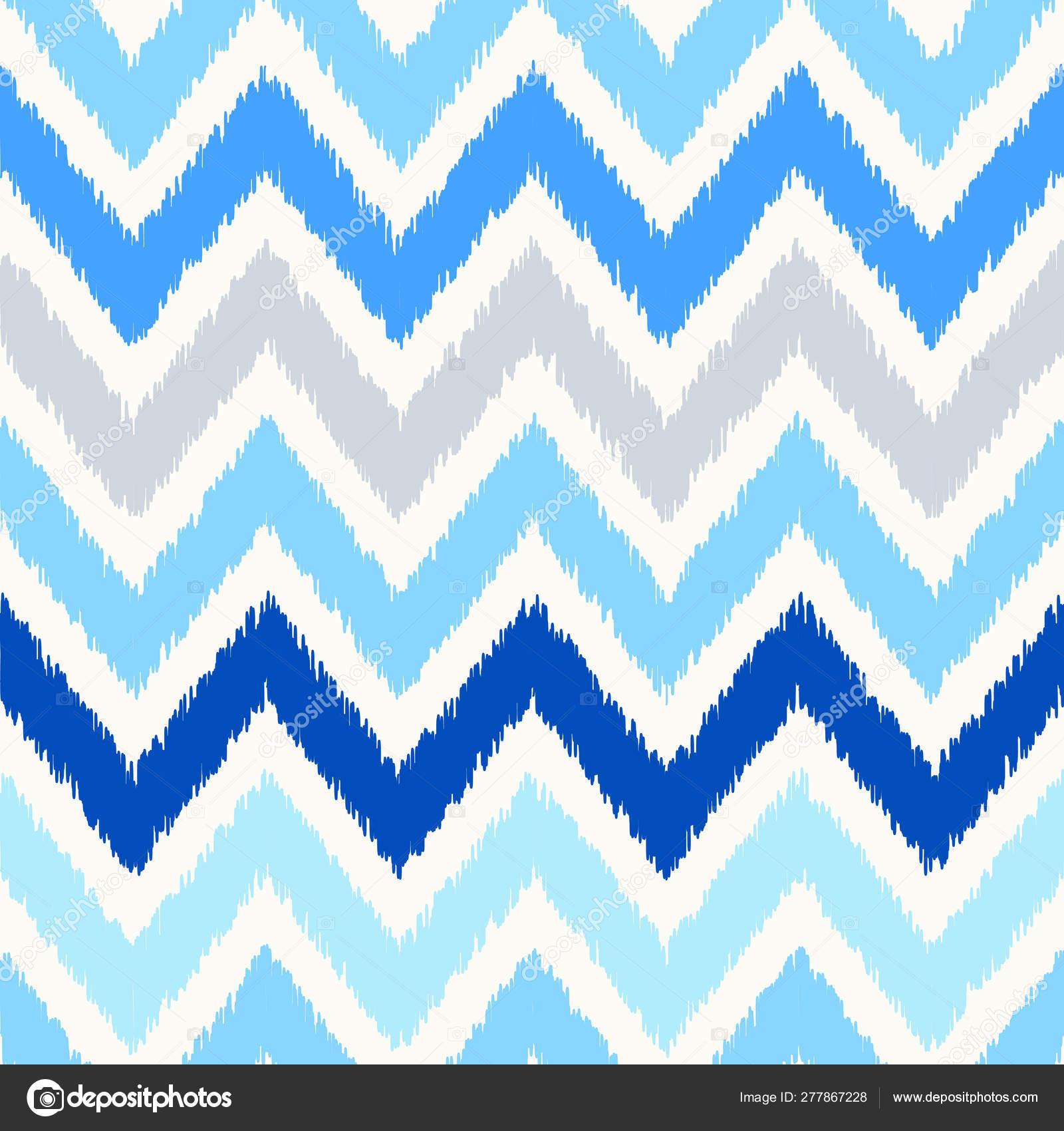 Uzbek Ikat Silk Fabric Pattern Indigo Blue And White Colors