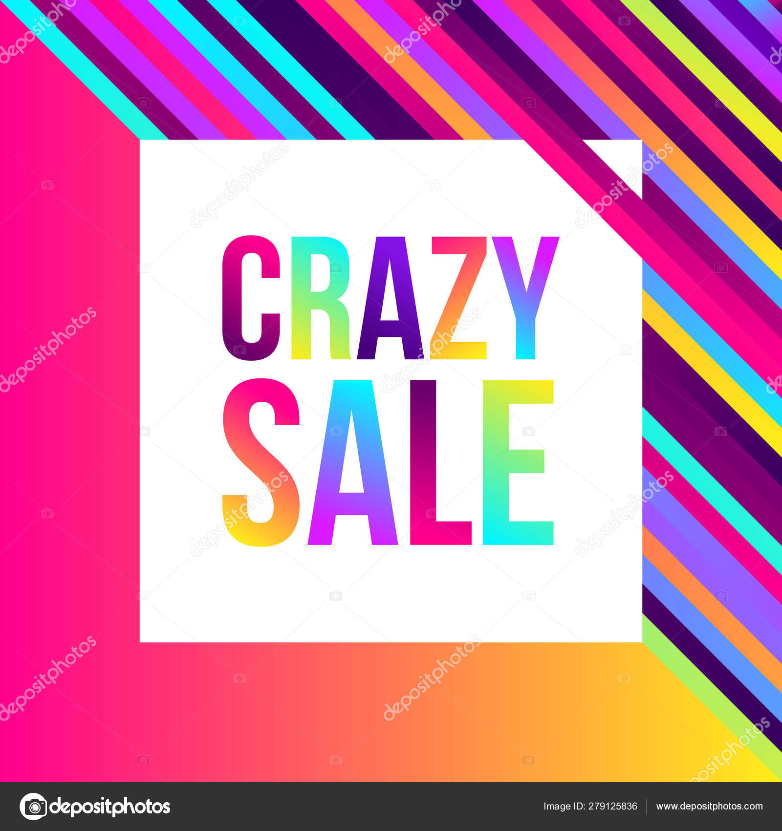 Crazy sale web banner, lots of colorful lines, frame for