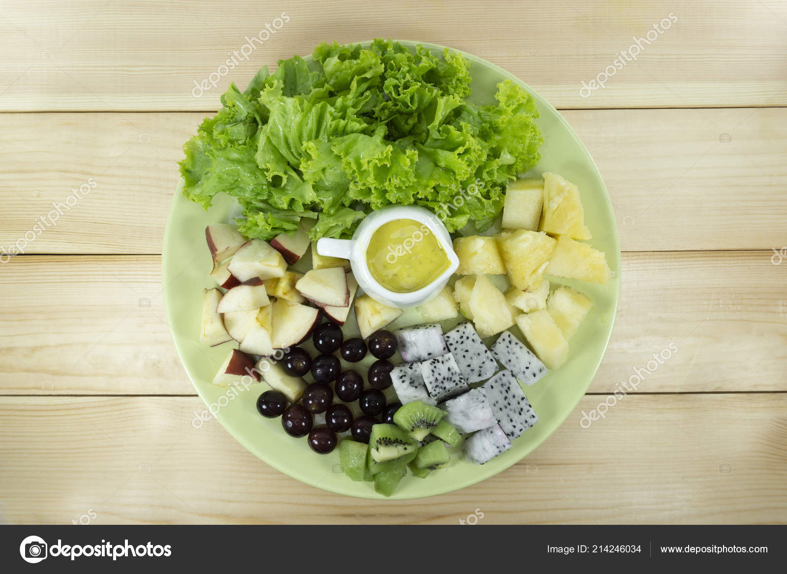 Fruit Salad Fresh Vegetables Green Plate Wooden Floor Props Decoration Stock Photo Image By C Artstore Outlook Co Th 214246034