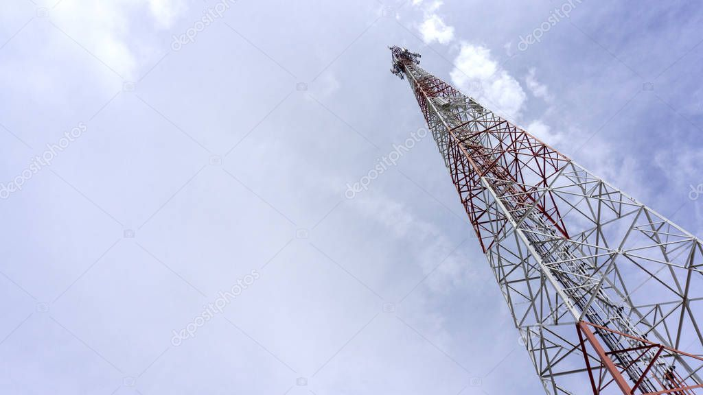 Telecommunication Tower. Cell Phone Signal Tower. electric pole blue sky on cloud background