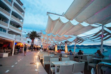 Ibiza Island Spain May 2019 People Cafe Del Mar Cafe