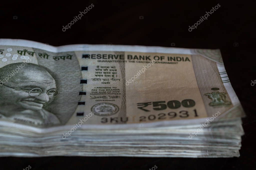 Srinagar, Jammu and Kashmir, India- Dated: August 31, 2018: A bundle of Rs 500 Indian Currency kept on a table