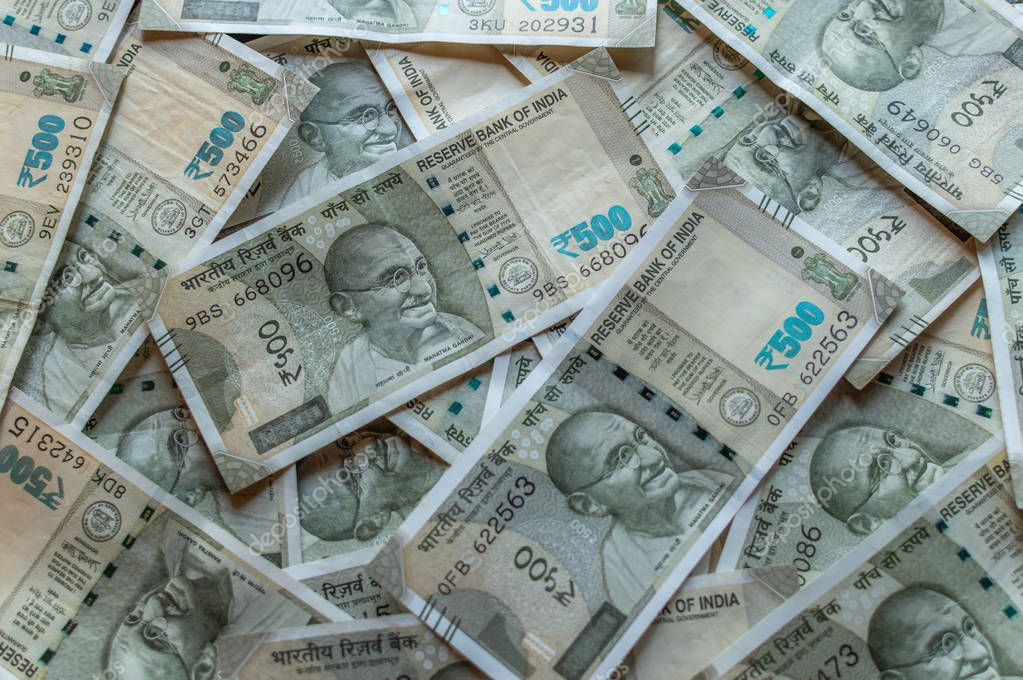 Srinagar, Jammu and Kashmir, India- Dated: August 31, 2018: 500Rs Indian Currency notes forming a background