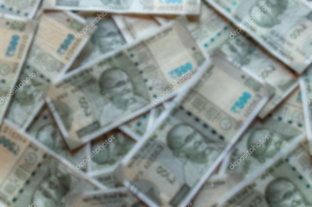 Srinagar, Jammu and Kashmir, India- Dated: August 31, 2018: Blurred 200Rs Indian Currency notes forming a background