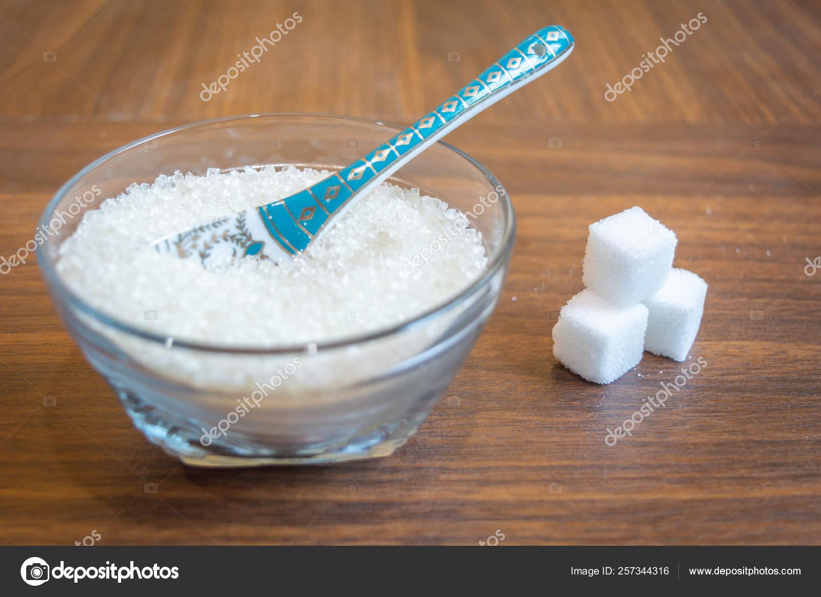 White Sugar Kept Glass Bowl Spoon Some Sugar Cubes Kept