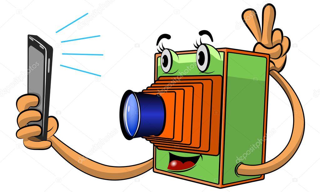 Vintage Camera Makes Selfie A Modern Smartphone Vector Image In Cartoon Style Premium Vector In Adobe Illustrator Ai Ai Format Encapsulated Postscript Eps Eps Format