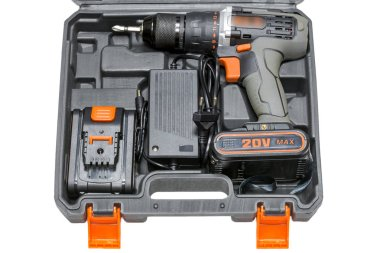 Cordless drill in a case