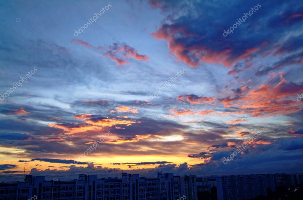 sunset in summer in a residential area
