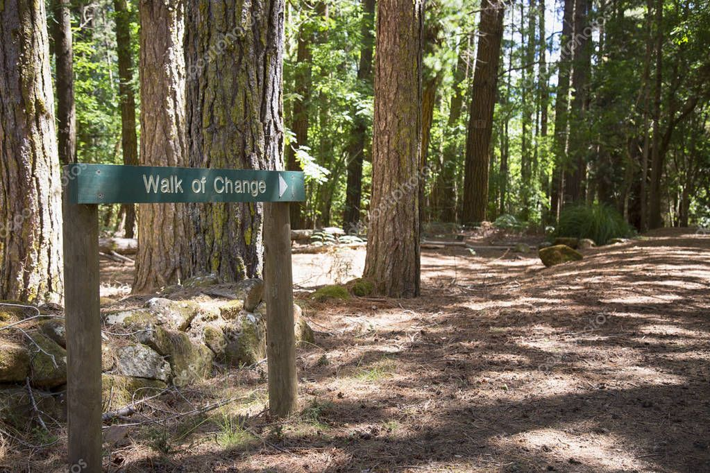 A walk of change sign in a forest.