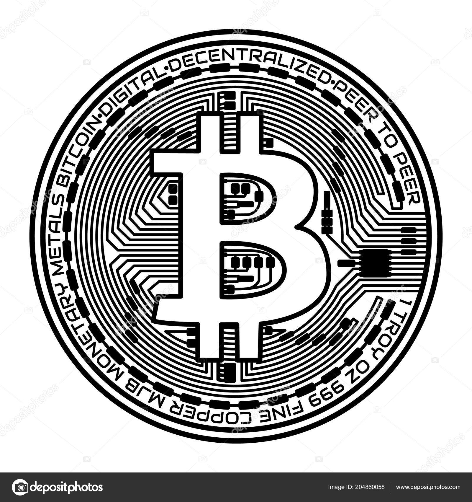 Bitcoin coin on white background  Vector illustration
