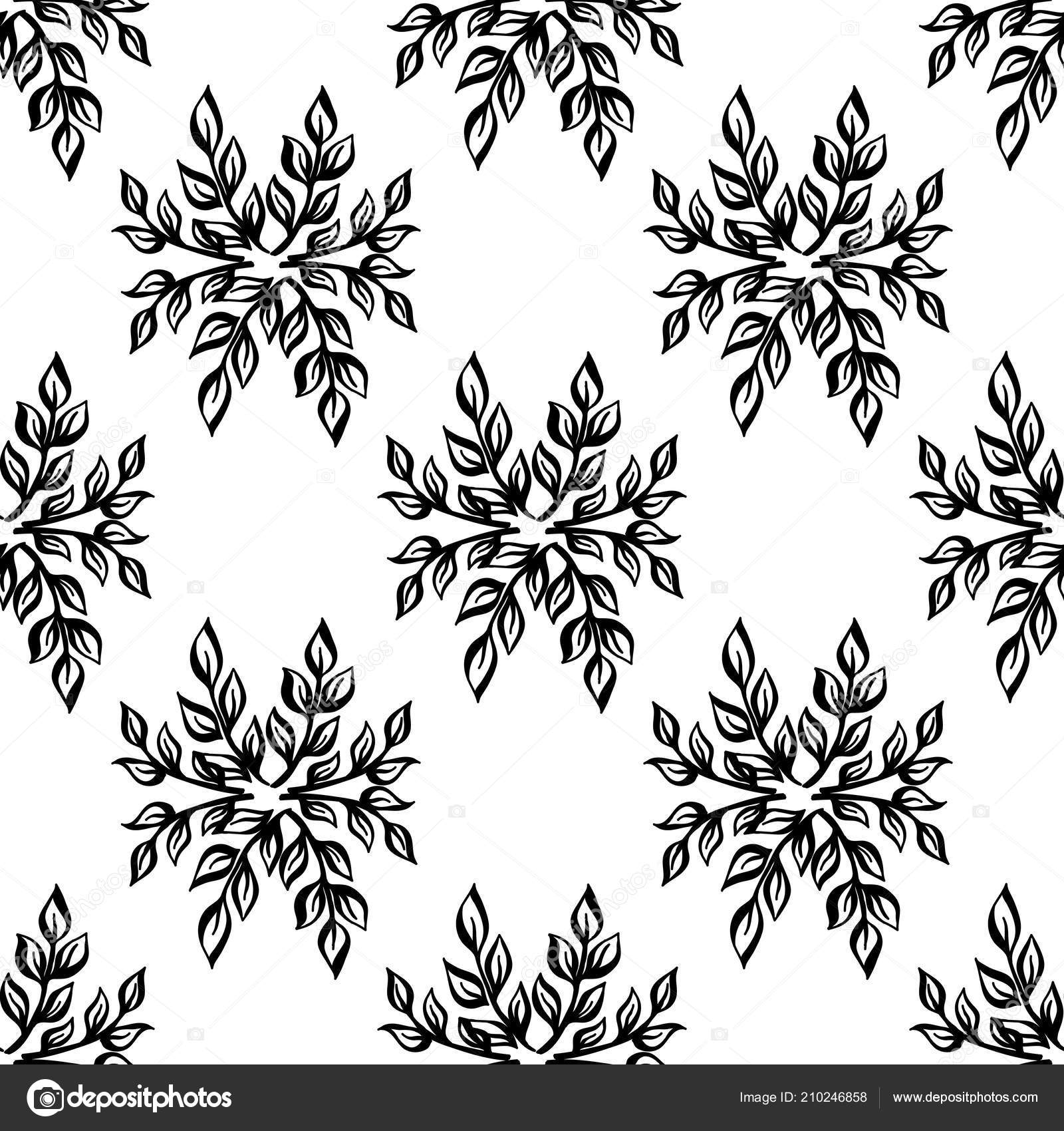 Black and white floral elegant leaves seamless pattern vector illustration vector template for cards banners print fabric t shirt paper wallpaper