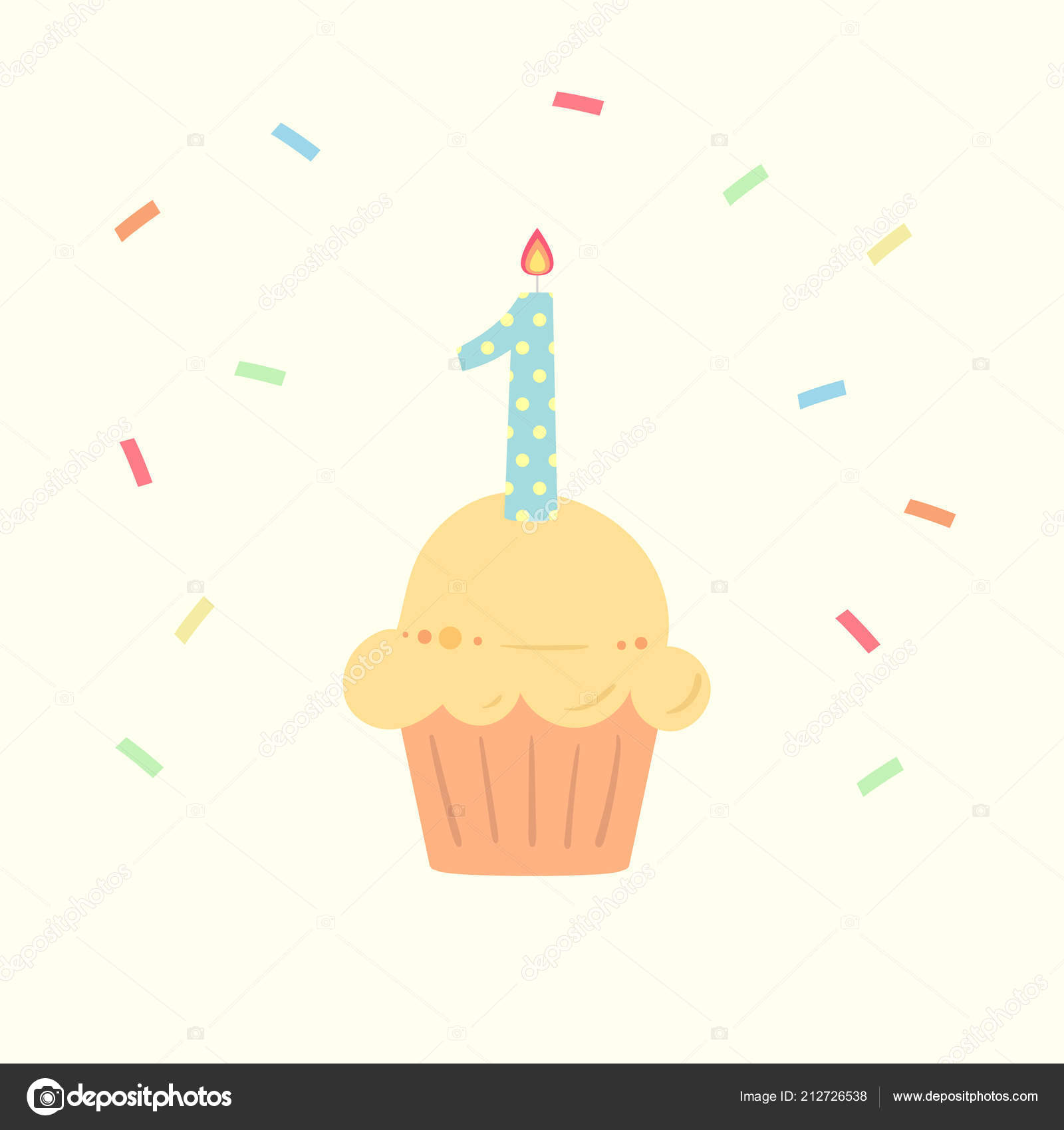 Happy First Birthday Boy Card Cupcake Candle Flat Design Style
