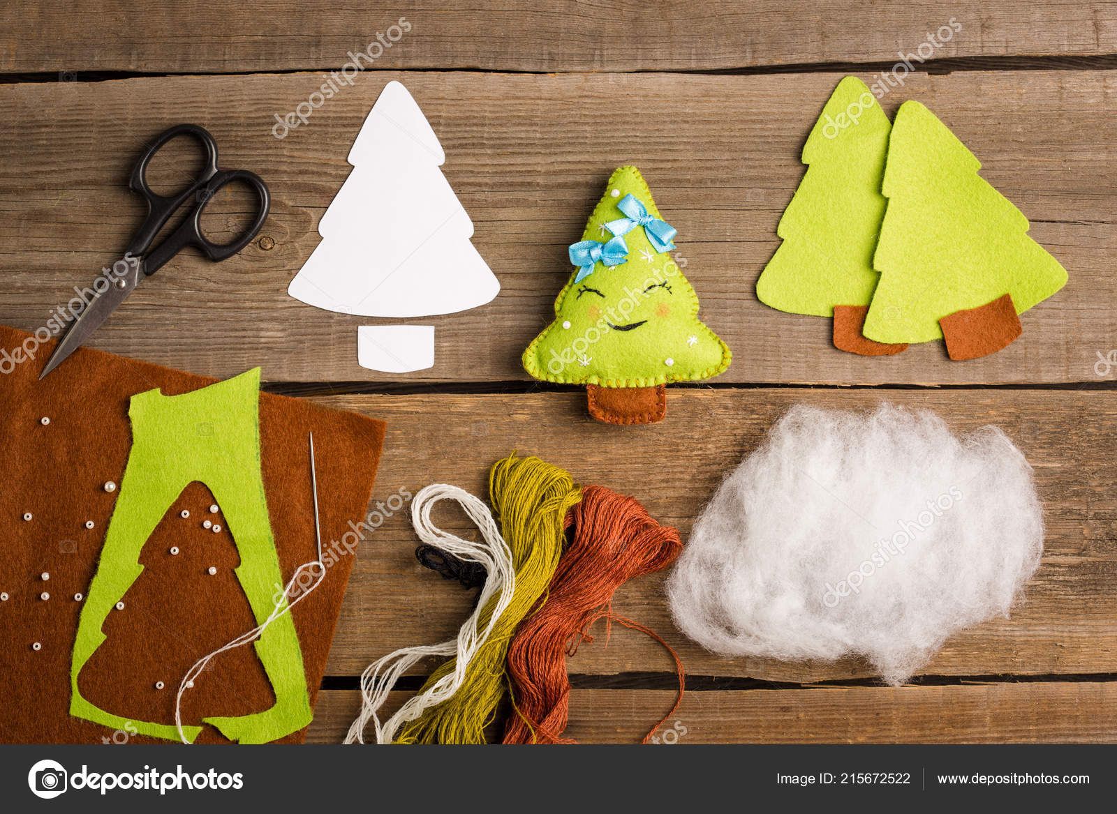 Cut Out Details Fur Tree Toy Fabric Crafts Kids Step Stock Photo