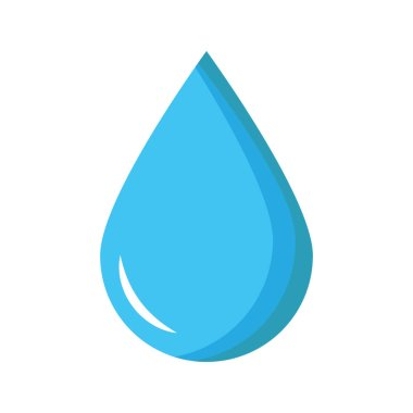 Water drop symbol illustration, blue water drop icon