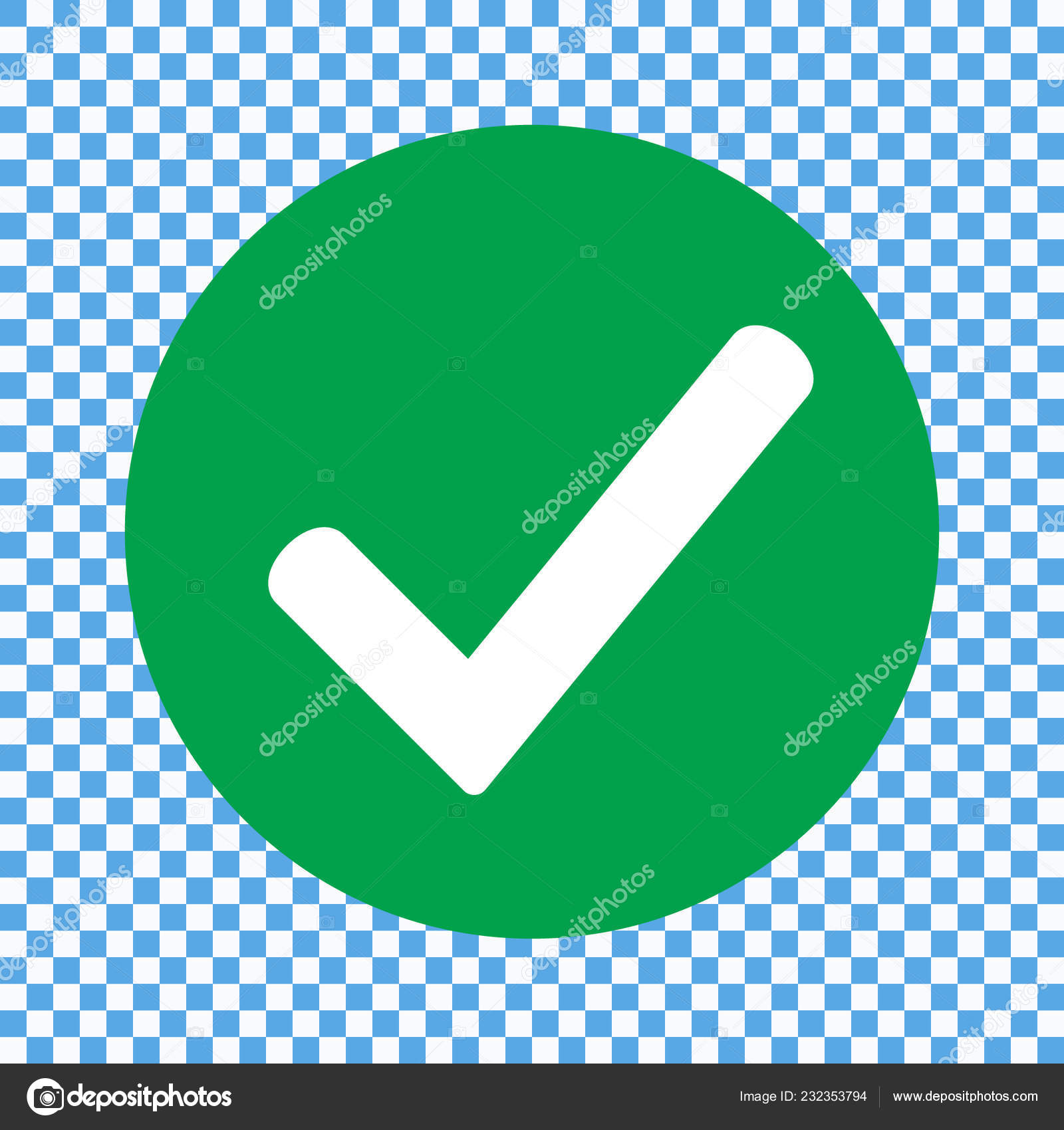 Flat Check Mark Green Icon Button Tick Symbol Isolated Transparent