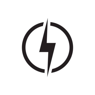 Lightning, electric power vector logo design element. Energy and thunder electricity symbol concept. Lightning bolt sign in the circle. Power fast speed logotype