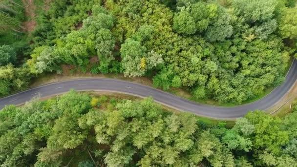 Klikatá cesta lesem - sledování snímku, letecký pohled