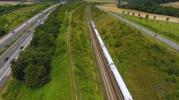 Highway and railroad track - aerial view, drone footage
