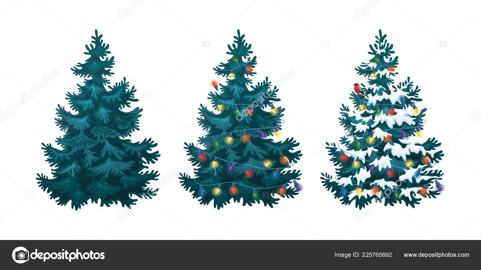 Christmas Tree Illustration.Vector Illustration Decorated Christmas Tree Snow White