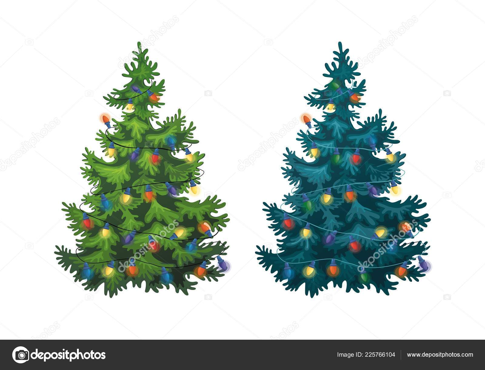 Christmas Tree Illustration.Vector Illustration Decorated Christmas Tree White
