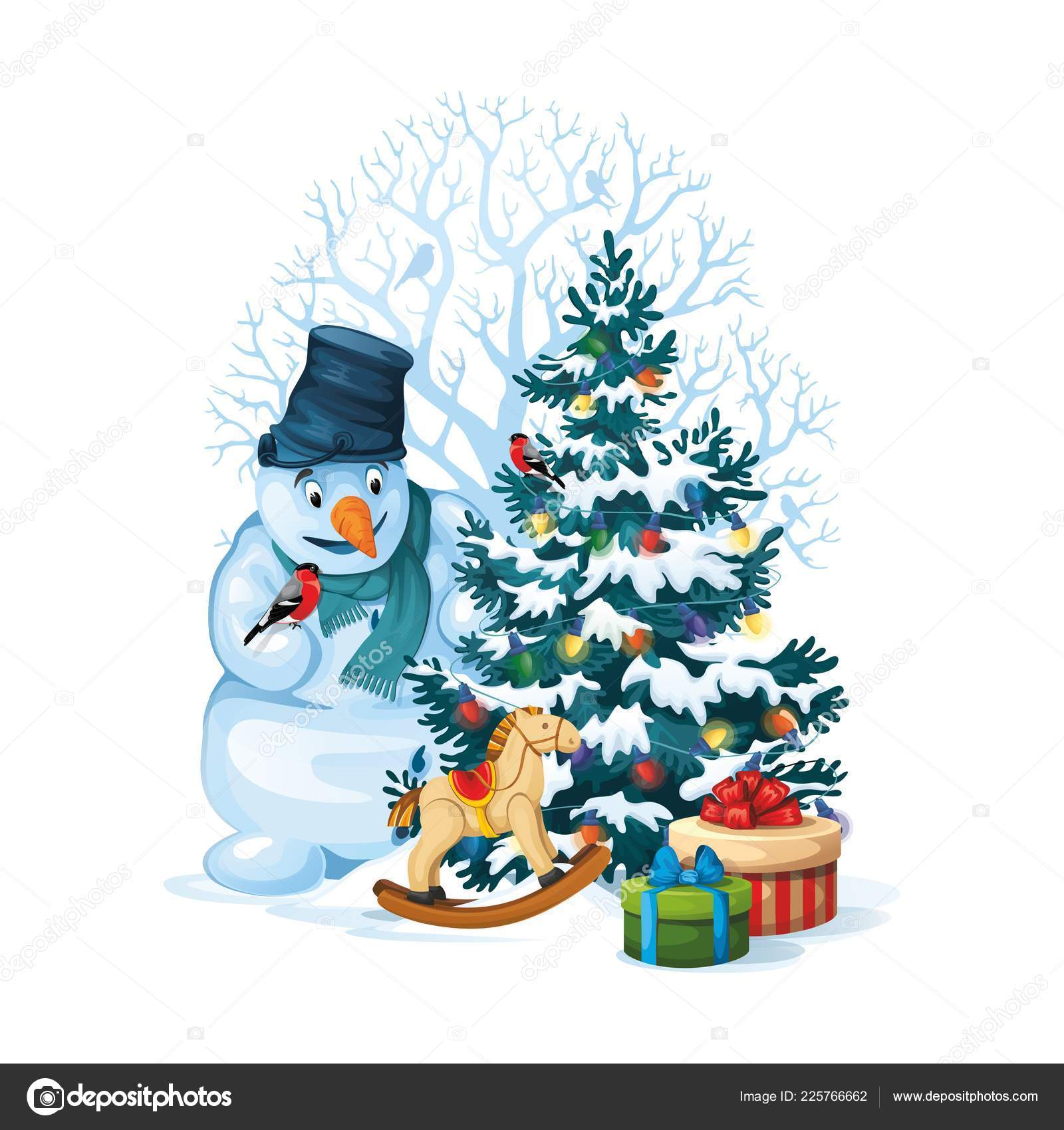vector illustration of snowman and decorated christmas tree with gifts and toys on white background merry christmas 21 vector by victoria maimail ru