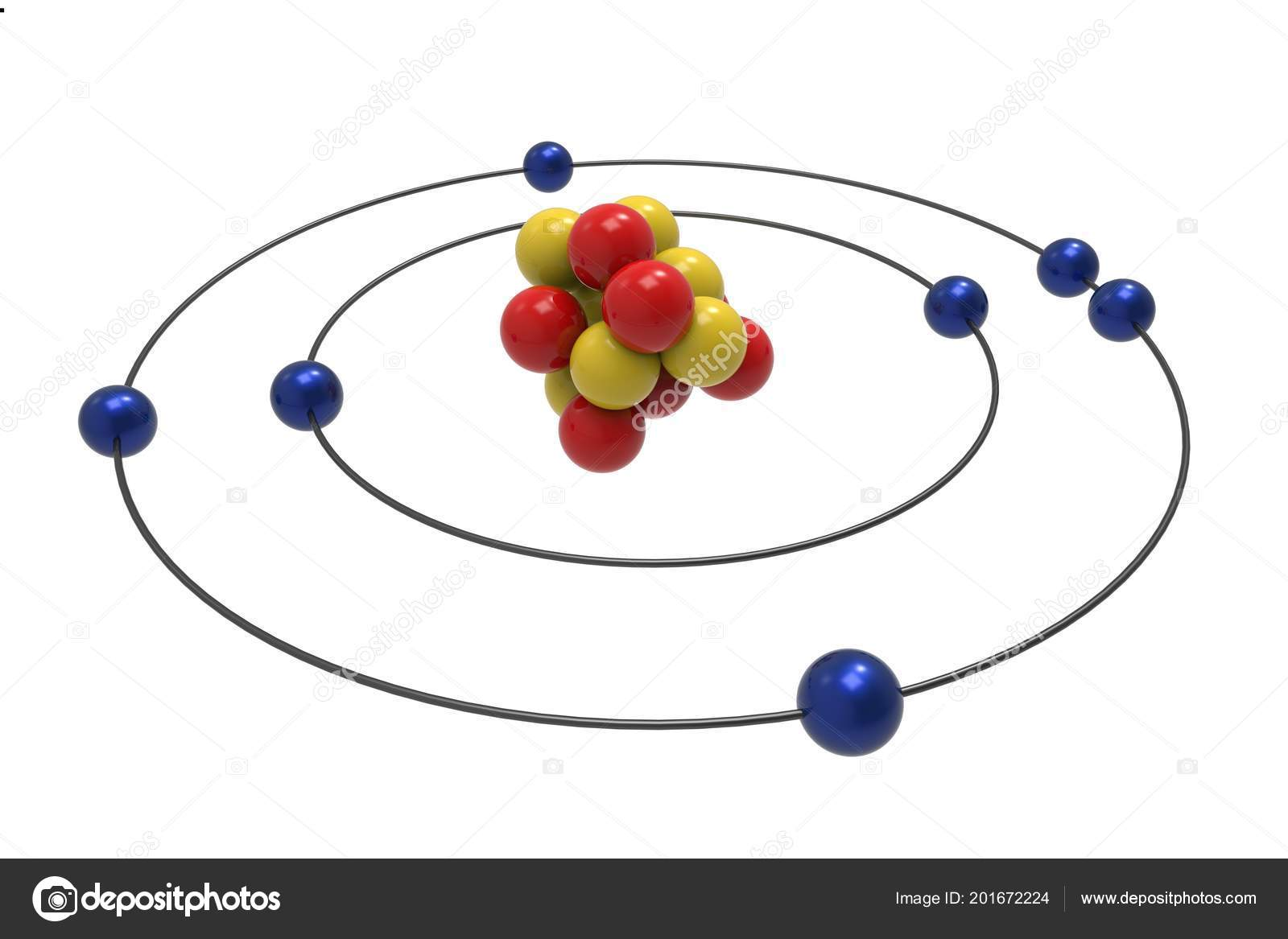 Bohr model nitrogen atom proton neutron electron science chemical bohr model nitrogen atom proton neutron electron science chemical concept fotografia de stock ccuart