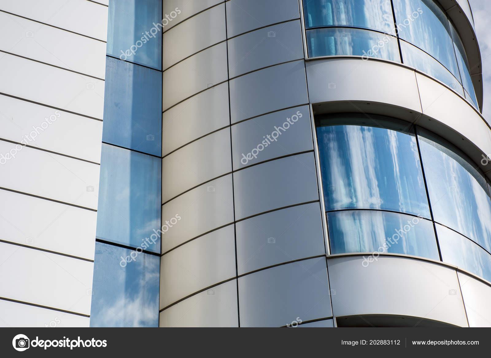 Modern Building Glass Wall Sky Cloud Reflection Windows Metallic ...