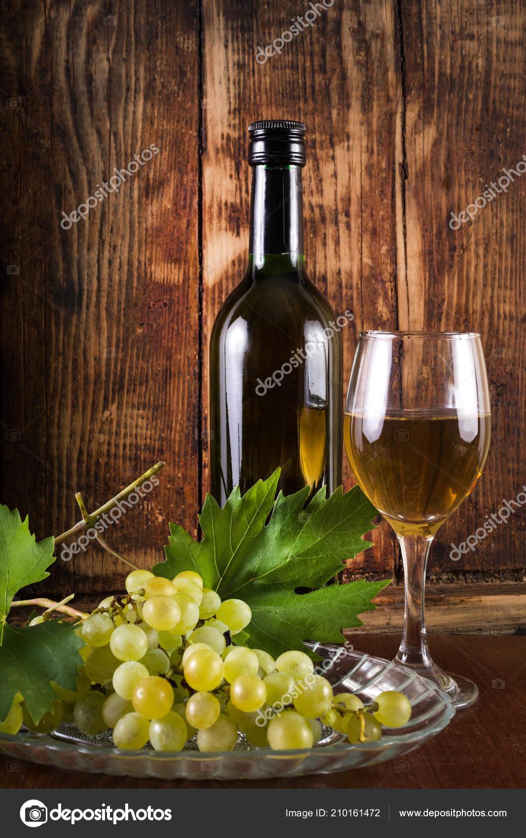 Table White Wine Glass Black Bottle Desk Grape Vine