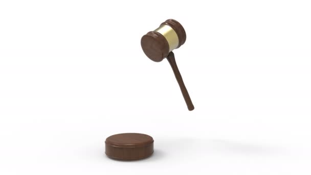 Wooden judge gavel pounded on soundboard isolated on white background. Law concept animation video. 3D Illustration