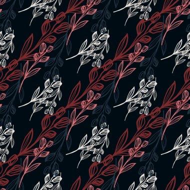 Vintage line art flower seamless pattern on black background. Hand drawn floral botanical wallpaper. Decorative backdrop for fabric design, textile print, wrapping. Vector illustration