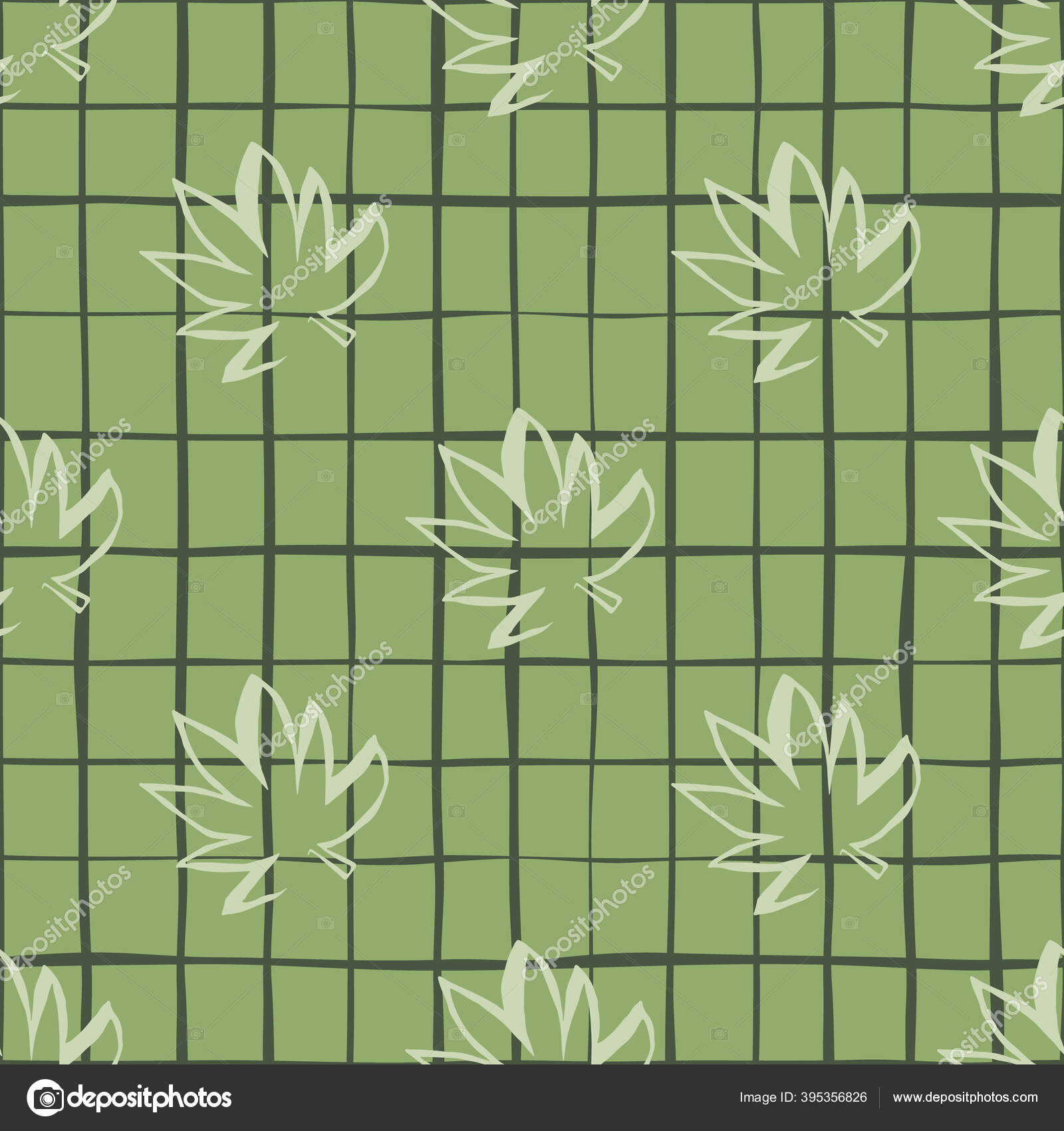 depositphotos 395356826 stock illustration seamless pattern white outline cannabis