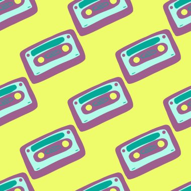 Bright pop seamless cassette pattern. Disco print with purple and blue colored ornament on yellow background. Great for wallpaper, textile, wrapping paper, fabric print. Vector illustration.