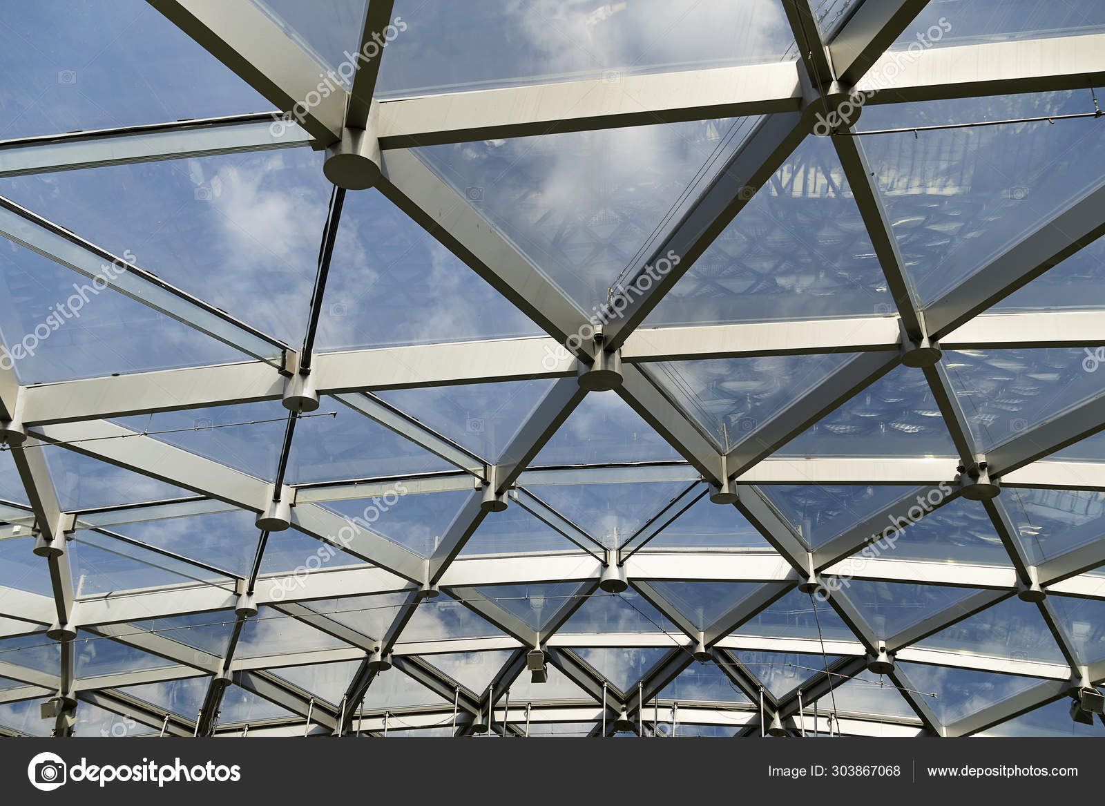 Futuristic Metal And Glass Roof Design Close Up Modern Ceiling With Elements Of Glass Metal Mesh Blue Sky Stock Photo Image By C S Telenkov 303867068