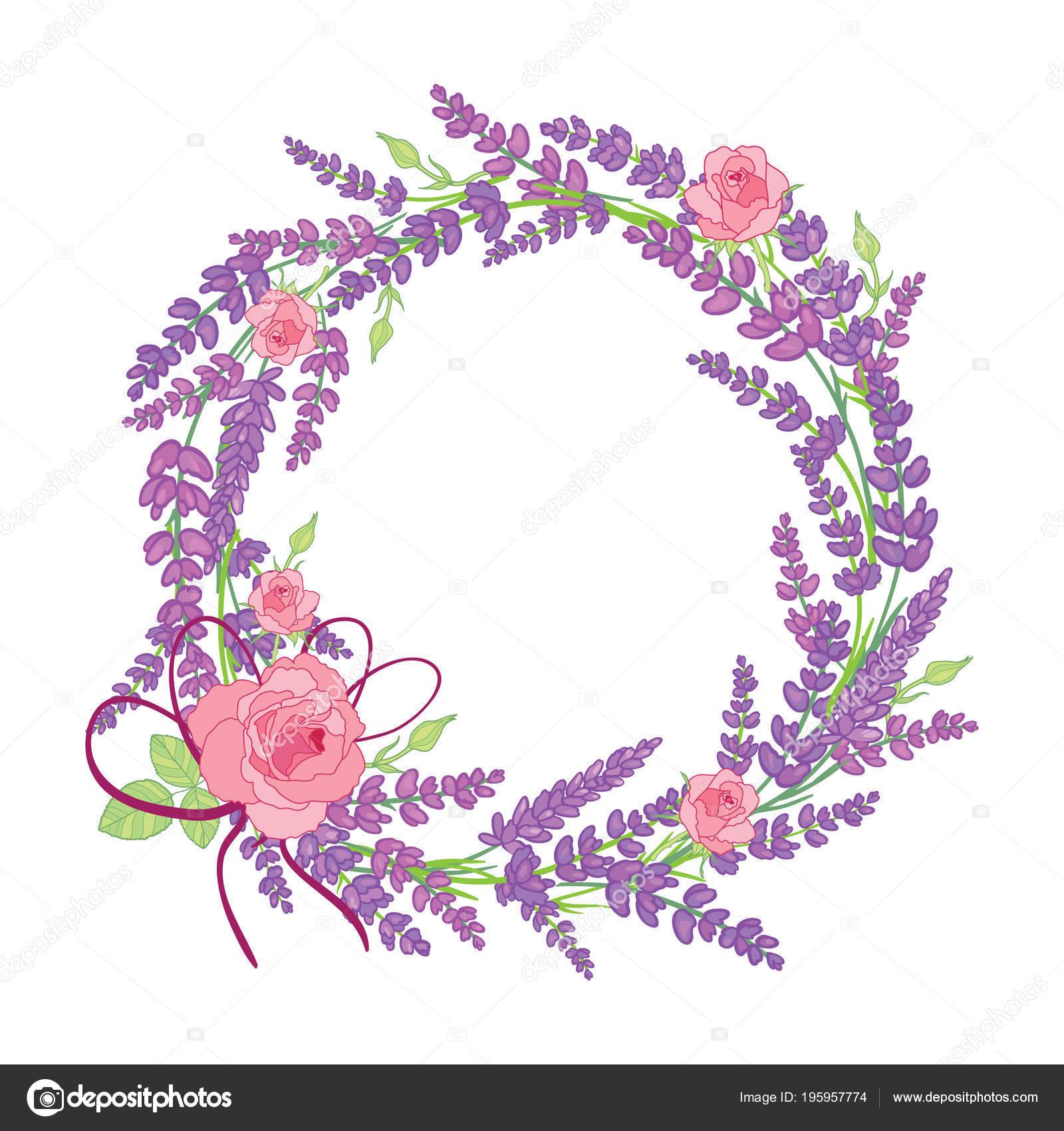 Rose and lavender flowers wreath decor arrangement — Stock Vector ...
