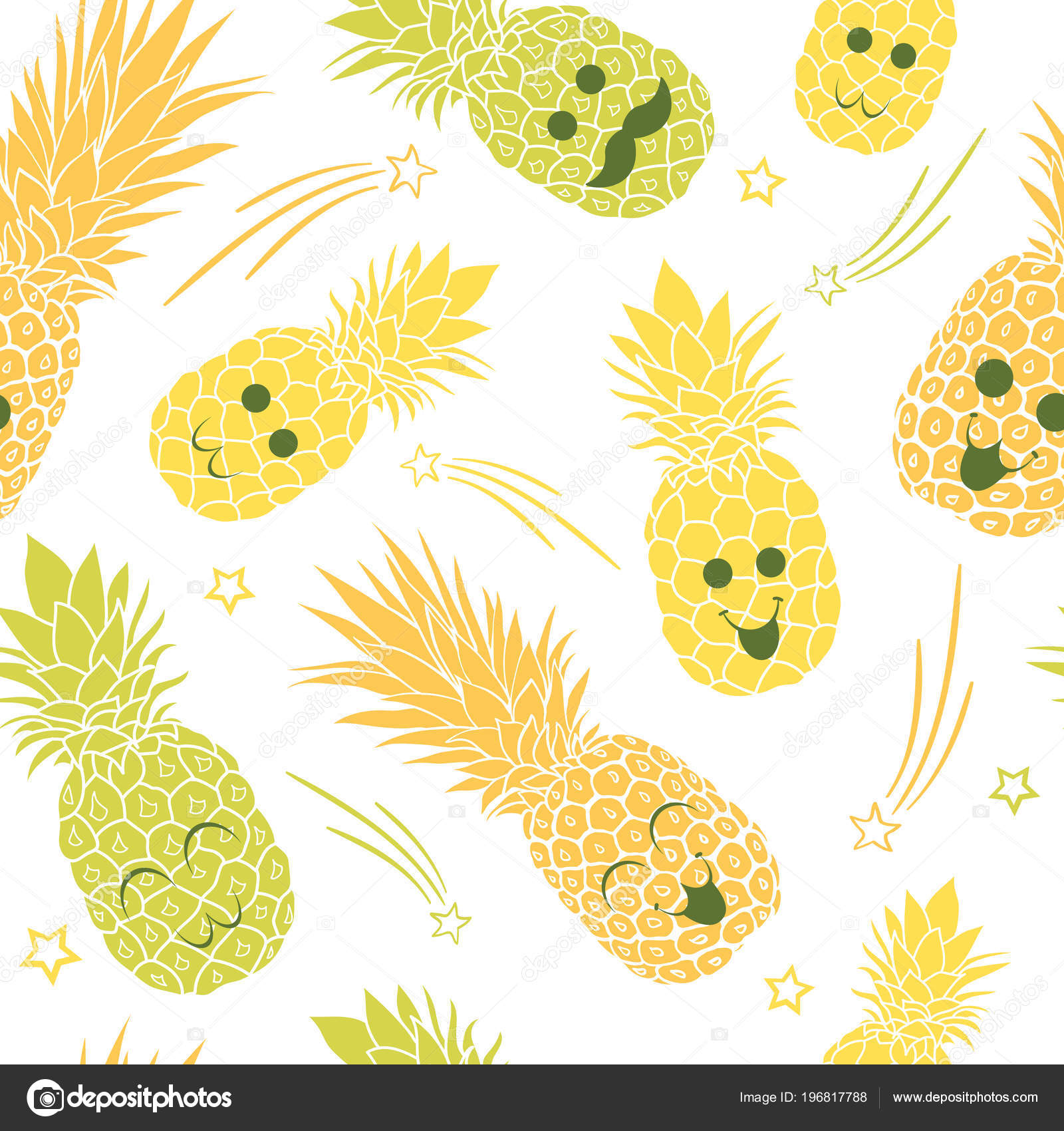 Wallpapers Cute Pineapple Cute Pineapple Family Seamless
