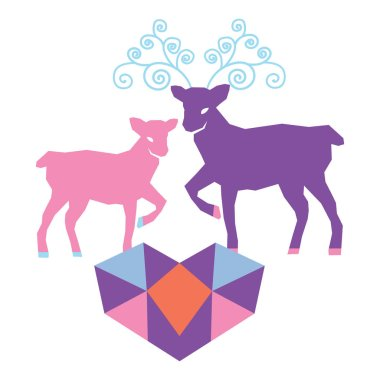 A couple of reindeer in love vector illustration.